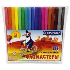 Фломастеры CENTROPEN, 18 цветов, Пингвины, смываемые, вентилируемый колпачок, полибег, 7790/18