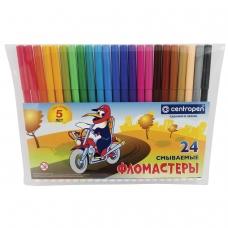 Фломастеры CENTROPEN, 24 цвета, 'Пингвины', смываемые, вентилируемый колпачок, полибег, 7790/24-86