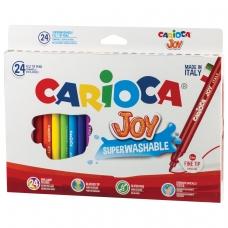 Фломастеры CARIOCA Joy, 24 цвета, суперсмываемые, вентилируемый колпачок, картонная коробка, 40615