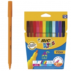Фломастеры BIC VISA, 12 цветов, суперсмываемые, вентилируемый колпачок, европодвес, 888695