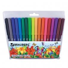 Фломастеры BRAUBERG Wonderful butterfly, 18 цветов, вентилируемый колпачок, пласт. упаковка, увеличенный срок службы, 150523
