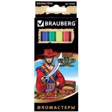 Фломастеры BRAUBERG 'Корсары', 6 цветов, вентилируемый колпачок, картонная упаковка с золотистым тиснением, 150563