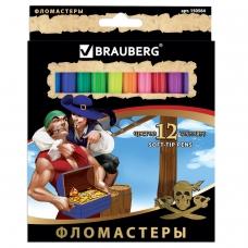 Фломастеры BRAUBERG Корсары, 12 цветов, вентилируемый колпачок, картонная упаковка с золотистым тиснением, 150564