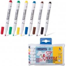 Маркеры для ткани CENTROPEN, набор 6 штук, круглые, 1,8 мм, черный, коричневый, красный, желтый, зеленый, синий, 2739/6