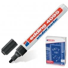 Маркер меловой EDDING '4095', 2-3 мм, ЧЕРНЫЙ, влагостираемый, для гладких поверхностей, E-4095/1