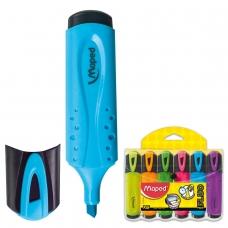 Текстмаркеры MAPED Франция, НАБОР 6 шт., 'Fluo Pep's Classic', 1-5 мм желтый, оранжевый, розовый, зеленый, голубой, фиолетовый, 742557