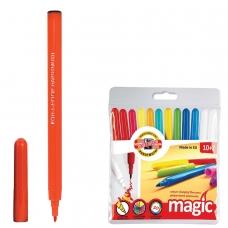 Фломастеры KOH-I-NOOR Magic, 12 штук, 10 цветов+2 стирающих, смываемые, пластиковая упаковка, подвес, 771612AB01TE