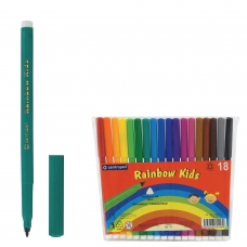 Фломастеры CENTROPEN Rainbow Kids, 18 цветов, смываемые, эргономичные, вентилируемый колпачок, 7550/18