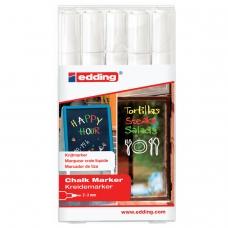 Маркеры стираемые для окон, стекла и досок EDDING 4095, набор 5 шт., белые, меловые, 2-3 мм, E-4095/5S/49