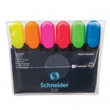 Текстмаркеры SCHNEIDER, набор 6 шт., 'Job', скошенный наконечник 1-5 мм, ассорти, 115096