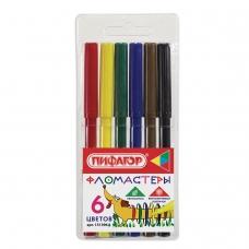 Фломастеры ПИФАГОР 'Веселая такса', 6 цветов, вентилируемый колпачок