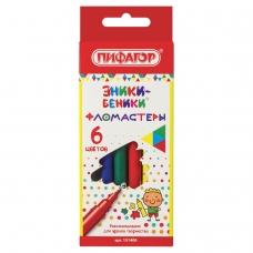 Фломастеры ПИФАГОР 'ЭНИКИ-БЕНИКИ', 6 цветов, вентилируемый колпачок