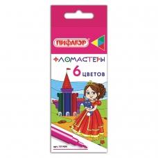 Фломастеры ПИФАГОР 'Принцессы', 6 цветов, вентилируемый колпачок