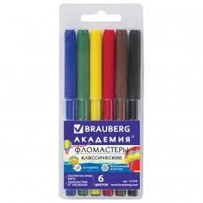 Фломастеры BRAUBERG 'АКАДЕМИЯ', 6 цветов, вентилируемый колпачок, ПВХ упаковка, 151409