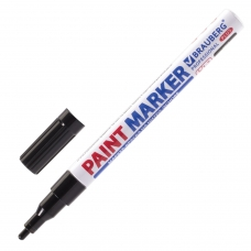Маркер-краска лаковый paint marker 2 мм, ЧЕРНЫЙ, НИТРО-ОСНОВА, алюминиевый корпус, BRAUBERG PROFESSIONAL PLUS, 151439
