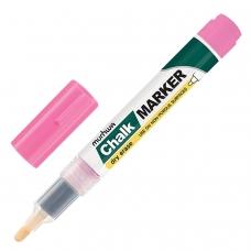 Маркер меловой MUNHWA 'Chalk Marker', 3 мм, РОЗОВЫЙ, сухостираемый, для гладких поверхностей, CM-10