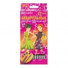 Карандаши цветные акварельные BRAUBERG 'Pretty Girls', 12 цветов, заточенные, картонная упаковка, 180567