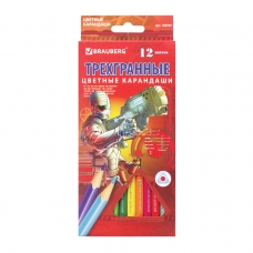 Карандаши цветные BRAUBERG 'Star Patrol', 12 цв., трехгранные, заточенные, картонная упаковка, 180595