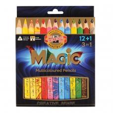 Карандаши с многоцветным грифелем KOH-I-NOOR, набор 13 шт., 'Magic', трехгранные, грифель 5,6 мм, европодвес, 3408013001KS