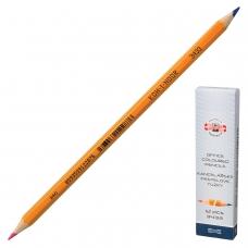 Карандаш двухцветный KOH-I-NOOR, 1 шт., красно-синий, грифель 3,2 мм, желтый корпус, 34330EG001KS