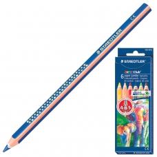 Карандаши цветные утолщенные STAEDTLER 'Noris Club', 6 цветов, грифель 6 мм, европодвес, 129 NC6