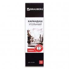 Карандаш угольный BRAUBERG ART CLASSIC, 1 шт., мягкий, круглый, корпус черный, заточенный, 181290