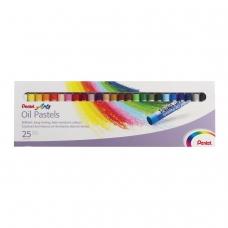 Пастель масляная художественная PENTEL Oil Pastels, 25 цветов, круглое сечение, картонная упаковка, PHN4-25