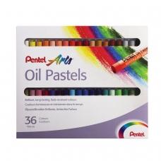 Пастель масляная художественная PENTEL Oil Pastels, 36 цветов, круглое сечение, картонная упаковка, PHN4-36