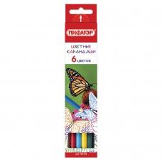 Карандаши цветные ПИФАГОР 'БАБОЧКИ', 6 цветов, классические заточенные, 181350