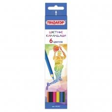 Карандаши цветные ПИФАГОР 'БЫСТРЕЕ! ВЫШЕ! СИЛЬНЕЕ!', 6 цветов., классические заточенные, 181355