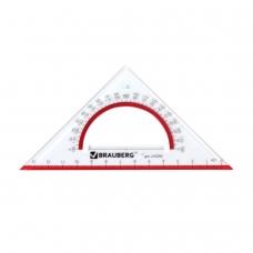 Треугольник пластиковый, угол 45, 13 см, BRAUBERG 'Crystal', с транспортиром, прозрачный, с выделенной шкалой, 210293