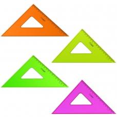 Треугольник пластиковый, угол 45х16 см, СТАММ 'Neon Crystal', тонированный, прозрачный, неоновый, ассорти, ТК57