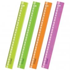 Линейка пластиковая 25 см, СТАММ 'Neon Crystal', прозрачная, неоновая, ассорти, ЛН22