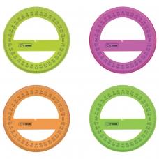 Транспортир 10 см, 360 градусов, пластиковый, СТАММ, тонированный, прозрачный, ассорти, ТР41