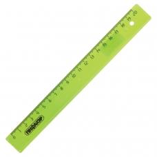 Линейка пластиковая 20 см, ПИФАГОР, прозрачная, неоновая, ассорти, 210605
