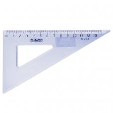 Треугольник пластиковый, угол 30, 13 см, ПИФАГОР, тонированный, прозрачный, голубой, 210617