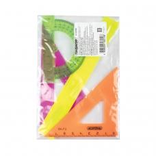 Набор чертежный малый ПИФАГОР линейка 16 см, 2 треугольника, транспортир, непрозрачный, неоновый, пакет, 210624