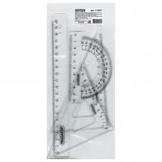 Набор чертежный средний ПИФАГОР линейка 20 см, 2 треугольника, транспортир, прозрачный, бесцветный, пакет, 210627