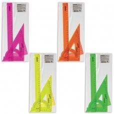 Набор чертежный большой ПИФАГОР линейка 30 см, 2 треугольника, транспортир, прозрачный, неоновый, пакет, 210629