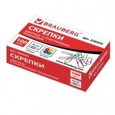 Скрепки BRAUBERG, 28 мм, цветные, 100 шт., в картонной коробке, 220555