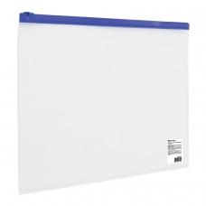 Папка-конверт на молнии BRAUBERG, А4, 230х333 мм, прозрачная, молния синяя, 221010
