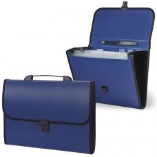 Портфель пластиковый STAFF, 6 отделений, с окантовкой, синий, 221205