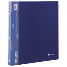 Папка на 2 кольцах BRAUBERG 'Диагональ', 25 мм, темно-синяя, до 170 листов, 0,8 мм, 221343