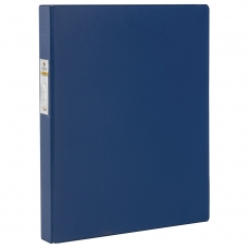 Папка на 4 кольцах BRAUBERG, картон/ПВХ, 35 мм, синяя, до 180 листов, 221484