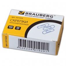 Скрепки BRAUBERG, 28 мм, никелированные, 100 шт., в картонной коробке, 221523