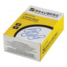 Скрепки BRAUBERG, 50 мм, никелированные, 50 шт., в картонной коробке, 221525