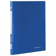 Папка на 2 кольцах BRAUBERG Office, 21 мм, синяя, до 120 листов, 0,5 мм, 221611