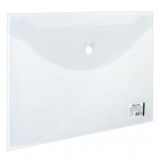 Папка-конверт с кнопкой BRAUBERG, А4, 150 мкм, до 100 листов, прозрачная, 221638