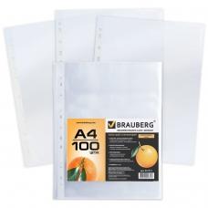 Папки-файлы перфорированные, А4, BRAUBERG, комплект 100 шт., апельсиновая корка, 45 мкм, 221713