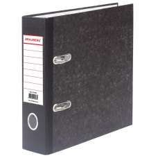 Папка-регистратор BRAUBERG, А5, вертикальная, фактура стандарт, мраморное покрытие, 70 мм, черный корешок, 221721